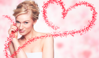 Woman in Front of Valentine's Day Background