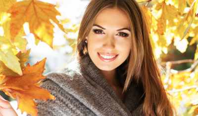 Woman in Front of Fall Background
